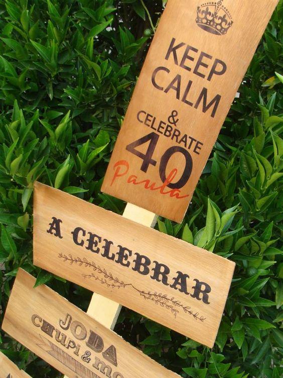 decoracion cumplea os 40 cartel impreso de madera 40