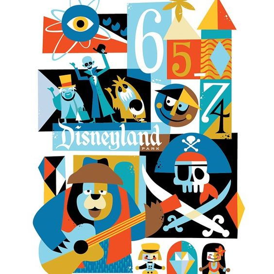 """The next ""Disneyland Decades"" piece in the collection-1965-1974. My first memories of Disneyland happened during this time period. Creating this series…"""