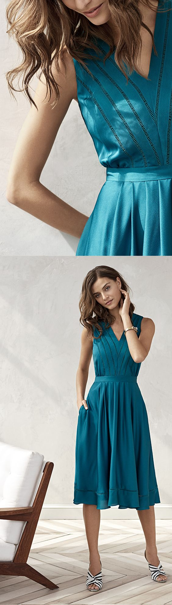 Our sleek teal dress will take you from a garden party to a night on the town with easy elegance | Banana Republic