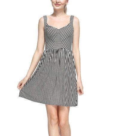 Black & White Stripe Sleeveless Dress #zulily #zulilyfinds