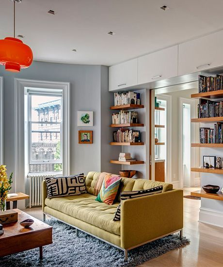 See how this Brooklyn prewar apartment transformed from a cramped three-bedroom to an inviting, colorful space.