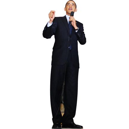 6' A cardboard cutout of President Barack Obama speaking. Barack Hussein Obama is the 44th President of the United States, defeating Republican nominee John McCain. He is the first African American to be elected in office. He is gradually withdrawing troops in Iraq and increasing troop levels in Afghanistan. In 2009, Obama received a Nobel Peace Prize.