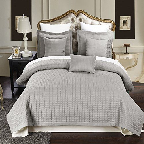 King California King Size Gray Coverlet 3pc Set Luxury Checkered Quilt By Royal Hotel Bed Spreads Coverlet Set Quilt Sets Bedding California king quilts and coverlets