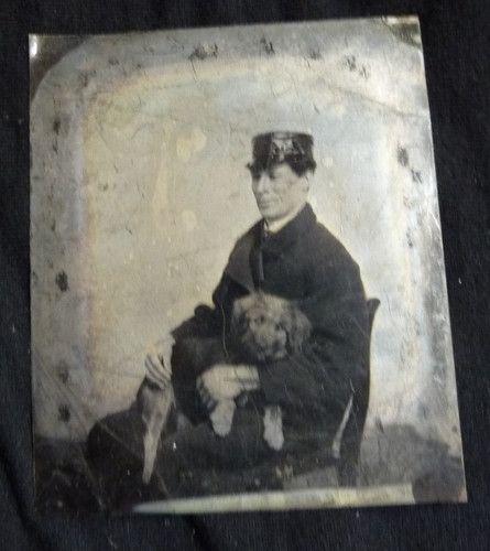 Tintype, man with dog.