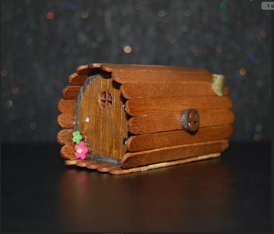 Hobbit house made from paddle pop sticks fairy doors for Make fairy door craft