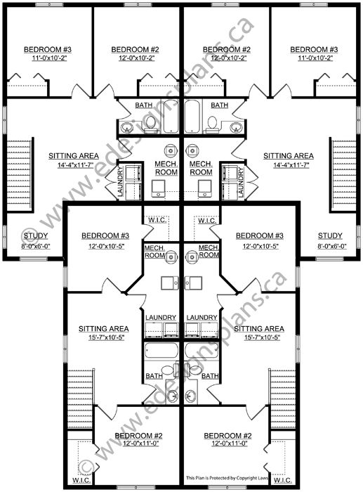 4 Plex Plan 2013747 A Very Well Laid Out Floor Plan For This Two Storey 4 Plex 3 Bedrooms Open Floor Plans House Layout Plans Floor Plan Layout Floor Plans