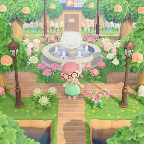 Pool Partyyy I Looove The Palm Tree Lamps And I Find It So Amazing That We Can Customize Them To Pink I Created A Cu In 2020 Animal Crossing Tree Designs Animals