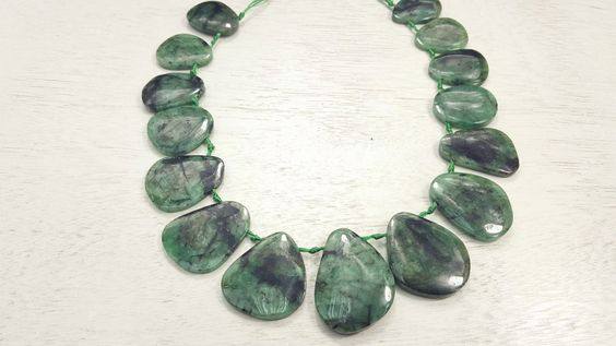 100 % Natural Brazilian Emerald Free-Form Shaped Beads 16inch Strand 109.5 Grams by BeadSeen on Etsy