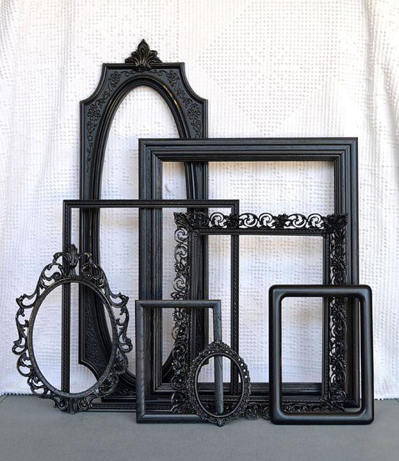 Black Ornate Vintage Frames Set of 8 - Upcycled Frames Oval Scrolly Gallery Wall Frames Collection