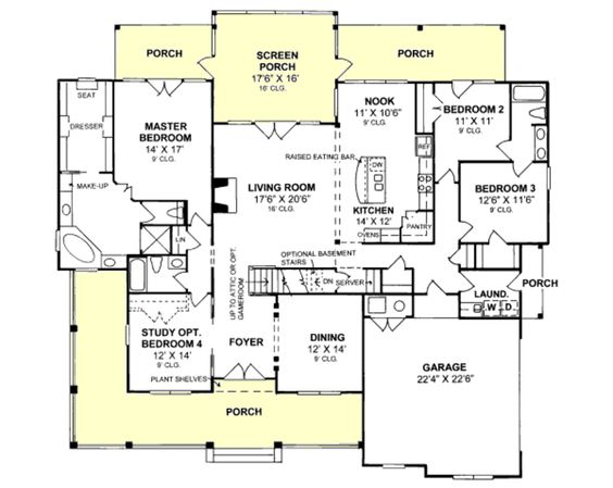 One story floor plan with upstairs bonus needs a for One story house plans with connecting in law suite