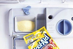 If the inside of your dishwasher is stained, Lemonade Kool-Aid can help knock those stains out.