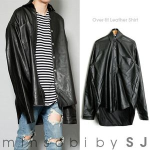 minsobi-urban-classic Shirt Jacket made of faux leather – Oversize look (gm-shirt-427)