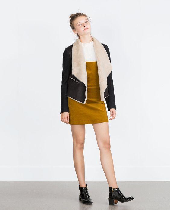 Veste en imitation peau lainée-Vestes-TRF | ZARA France