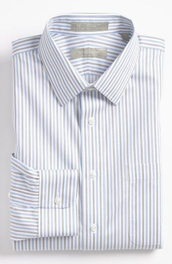Nordstrom Smartcare™ Traditional Fit Dress Shirt   Nordstrom   grey and blue stripes give this some visual interest