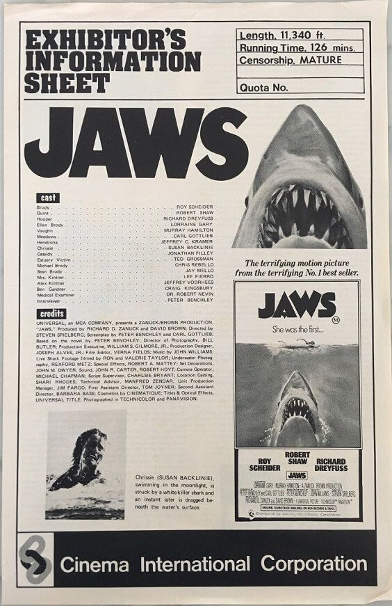 JAWS VINTAGE MOVIE POSTER FILM A4 A3 ART PRINT CINEMA 0