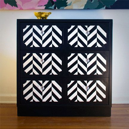 Love to do this with a boring chest of drawers!