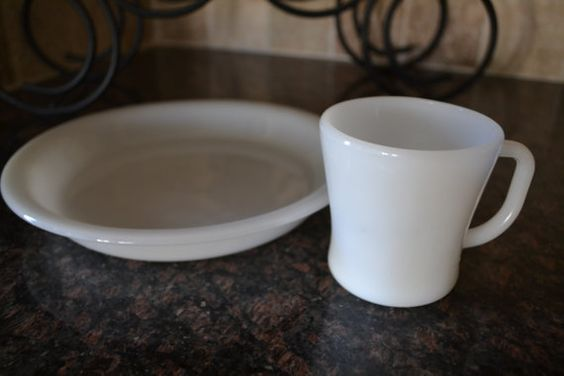 $15***Fireking Plate Pie Dish and a Cup***For more unique items please visit: http://www.etsy.com/shop/TsEclecticCorner