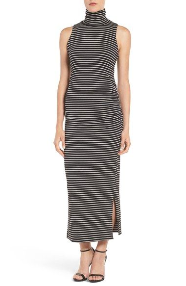 Free shipping and returns on Amour Vert Turtleneck Maxi Dress at Nordstrom.com. Supersoft and infinitely versatile, this striped stretch-knit maxi dress easily transitions from season to season with its cozy turtleneck and lean silhouette that's split at the hem.