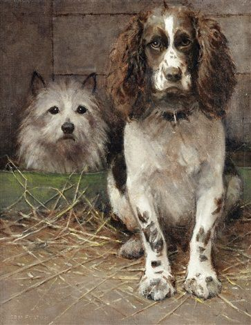 """""""Spaniel and Cairn"""" -- by Samuel Fulton (British, 1855–1941)"""