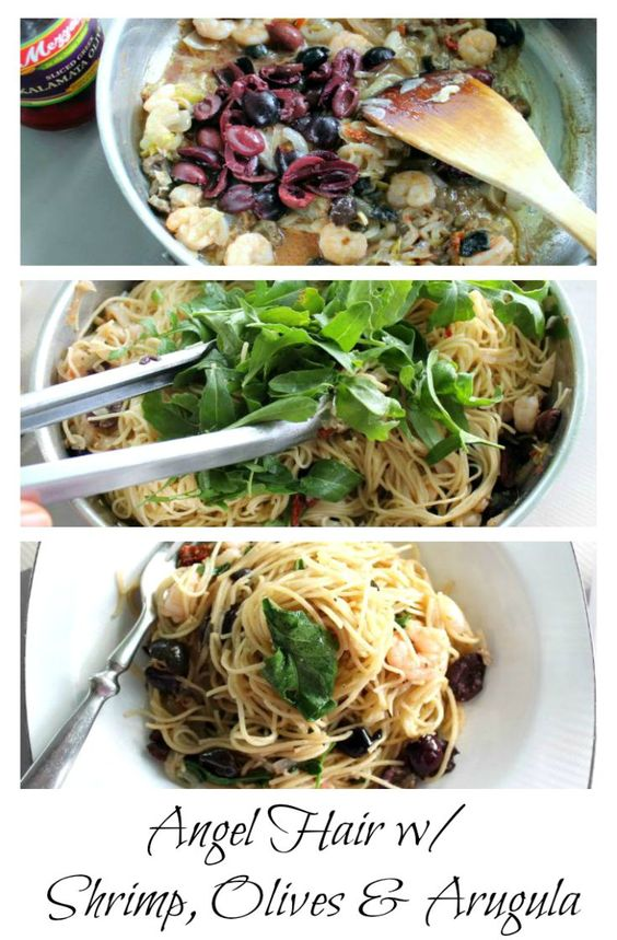 Angel Hair pasta with shrimp, olives and arugula is a great summer pasta dish.  Shrimp sauteed and tossed with angel hair, kalamata olives, arugula.