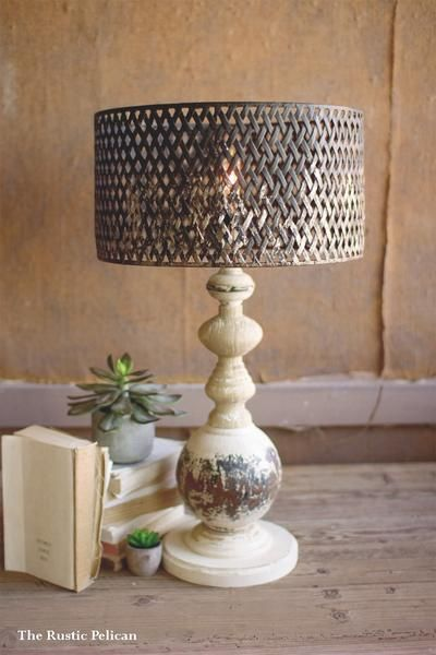 Table Lamp Modern Farmhouse This Modern Rustic Base With Metal Mesh Wire Lamp Shade Is The Perf Farmhouse Table Lamps Rustic Table Lamps Modern Farmhouse Table