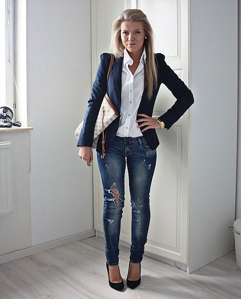 I'm loving simple pieces paired together with a twist. For instance, a feminine, tailored navy blazer over a crisp white button-up looks downright edgy with destroyed skinnies and heels.: