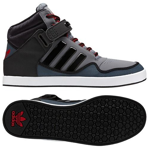 Mens Black Red Hightop Triple Strap Shoes