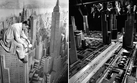 """Exhibits at the 1939 World's Fair. Left: Consolidated Edison, """"City of Light."""" [New York Public Library] Right: General Motors, """"Futurama."""""""