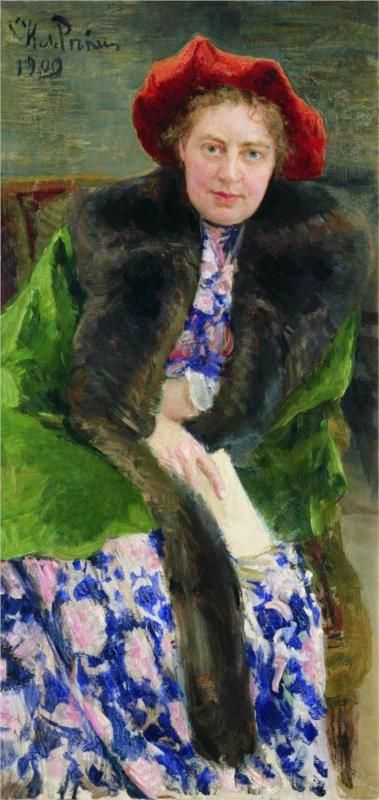 Portrait of Nadezhda Borisovna Nordman-Severova    Artist: Ilya Repin    Completion Date: 1909    Style: Realism    Genre: portrait