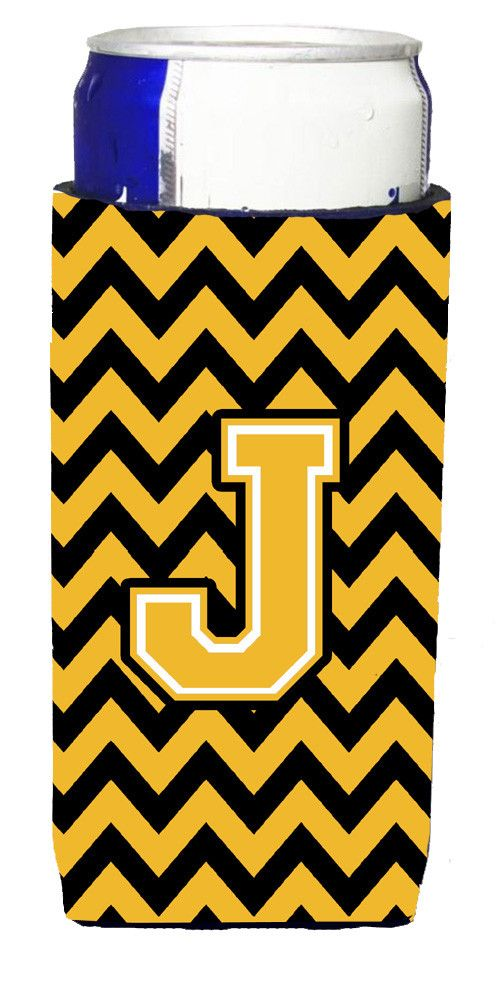 Letter J Chevron Black and Gold Ultra Beverage Insulators for slim cans CJ1053-JMUK