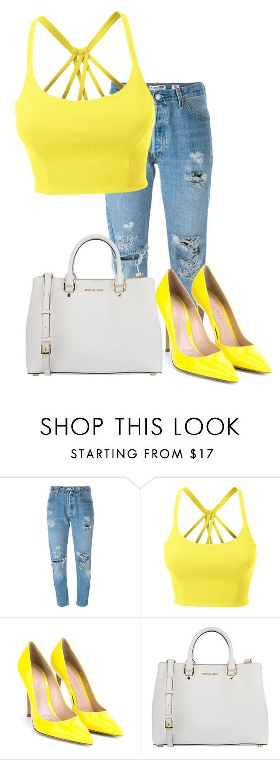 """""""#159"""" by potato-cupcake ❤ liked on Polyvore featuring Levi's, LE3NO, Gianvito Rossi and MICHAEL Michael Kors"""