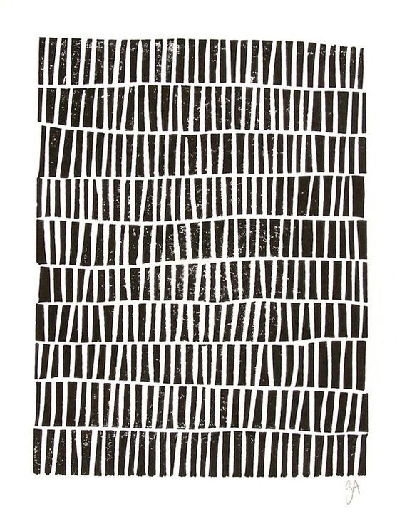 LINOCUT PRINT geometric pattern black block por thebigharumph