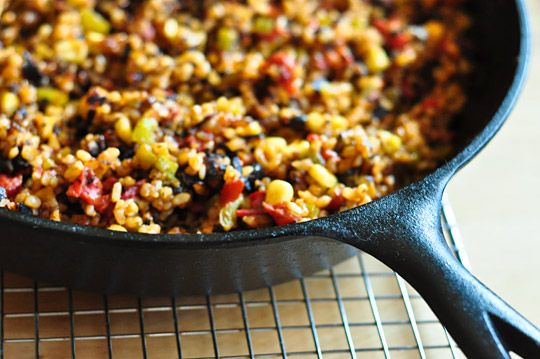 this cheesy tex-mex rice sounds great. they suggest this for a potluck, but i think it would be great to make and put in the freezer for a few dinners.