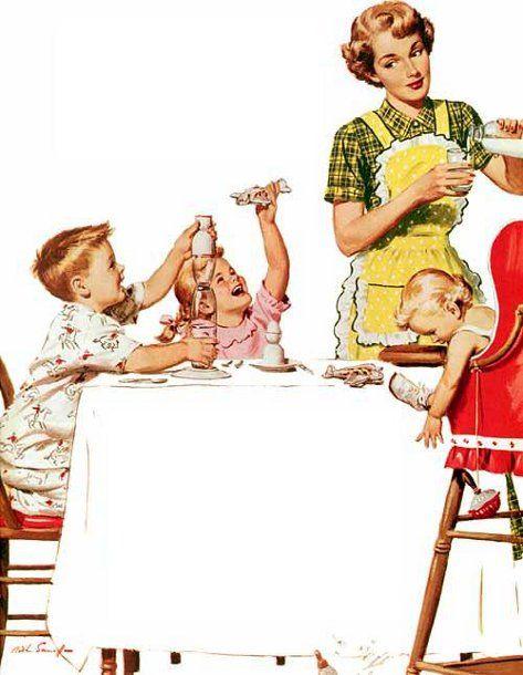 mid century housewife serving milk: