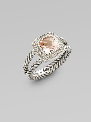 David Yurman Morganite, Diamond & Sterling Silver $695.00... LOVE. Someone get this for me please?!
