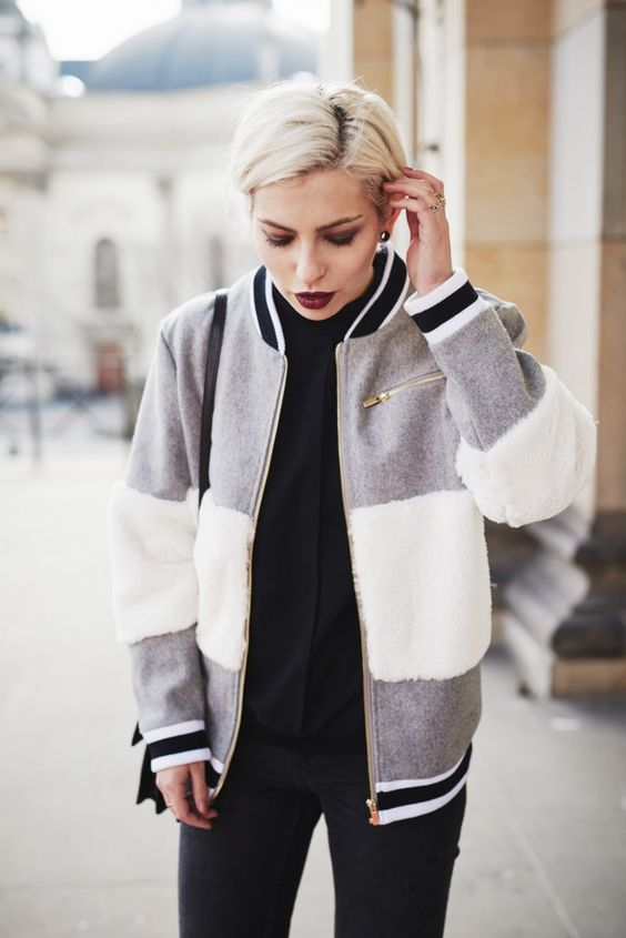 Oxford style | view more pictures on my blog | wearing a bomber jacket from Ivy Revel, zipper loafers and black cropped jeans | fashion in Berlin | selected femme, other stories, cheap monday, Saint Laurent