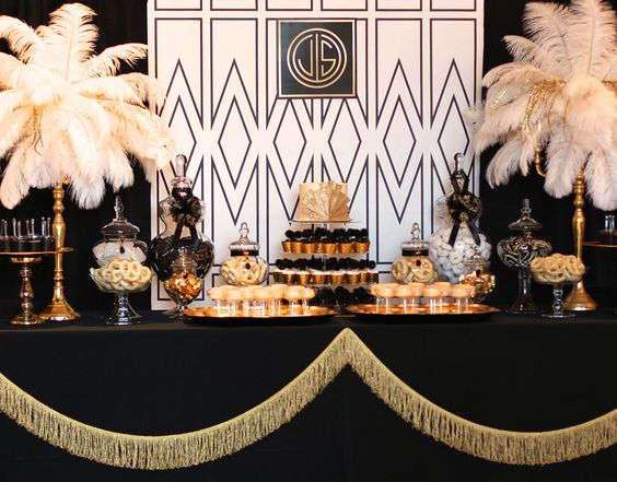 Stage - black edge lining from the hall. Add a drape of gold tinsel around…