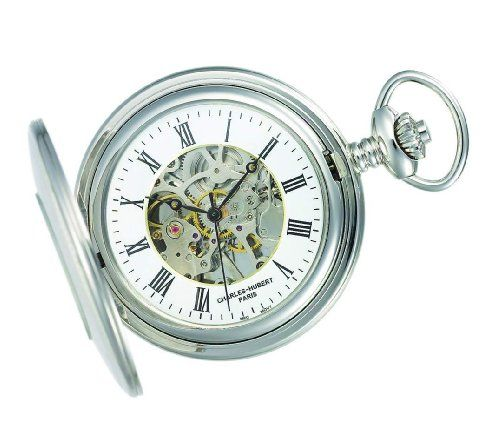 Charles-Hubert, Paris Stainless Steel Mechanical Pocket Watch, Pocket Watches, Charles-Hubert, Paris | Watches Ideas and Reviews
