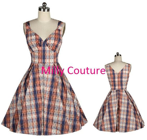1950s+plaid+day+dress+50s+dress+vintage+dress+50s+by+MillyCouture,+$59.00