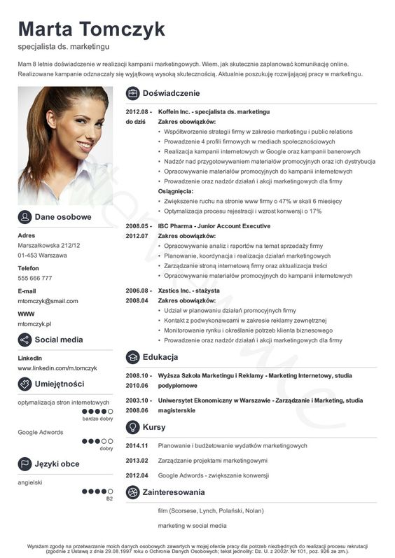 Znalezione Obrazy Dla Zapytania Cv Curriculum Vitae Curriculum Vitae Template Curriculum