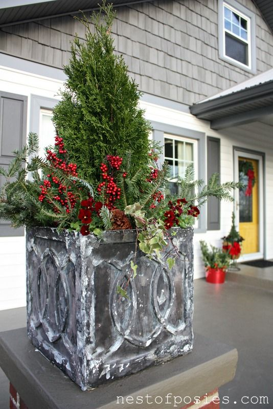 Christmas porch pots filed under christmas my crafty whims our home uncategorized - Winter container garden ideas ...