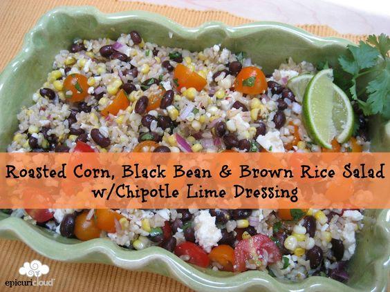 Brown rice salad, Rice salad and Roasted corn on Pinterest