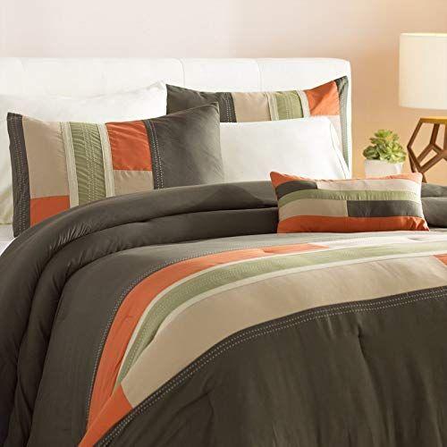 Unk 3pc Twin Xl Orange Striped Comforter Set Modern Circuit Design Rectangle Blocks Patchwork Vibrant Colorful Beddin Comforter Sets Bedding Sets Comforters