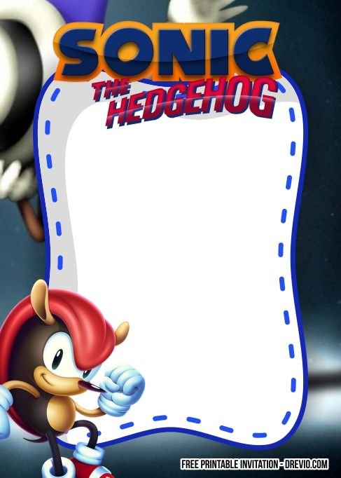 Free Sonic The Hedgehog Invitation Template Free Printable Birthday Invitations Printable Birthday Invitations Invitation Template