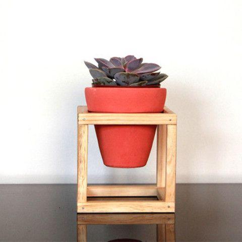 Suporte de madeira + vaso de cerâmica Nº2