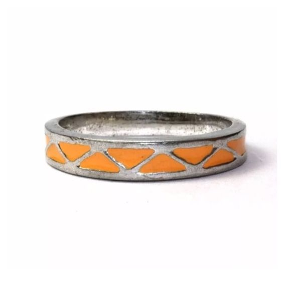 Vintage MOD sterling silver orange enamel band Totally retro mid-century mod sterling silver ring with bright orange enamel triangles. Funky geometric design that screams 1960! Size 7. Stamped 925 on band. Make sure to check out my other vintage sterling rings and bundle for a discount! Vintage Jewelry Rings
