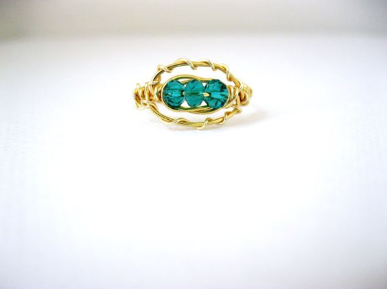 Emerald green and gold wire wrapped ring  6 by LaylasTrinkets, $16.00