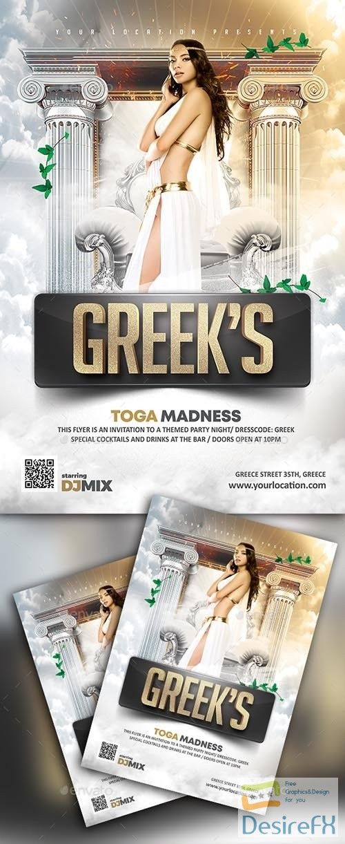 Download Gr Greeks Toga Madness Flyer 22362288 Desirefx Com Greek Toga Greek Party Theme Party Poster