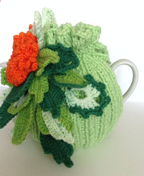 Hand knitted and crocheted tea cozy cosie Forestry by MagicFibre: