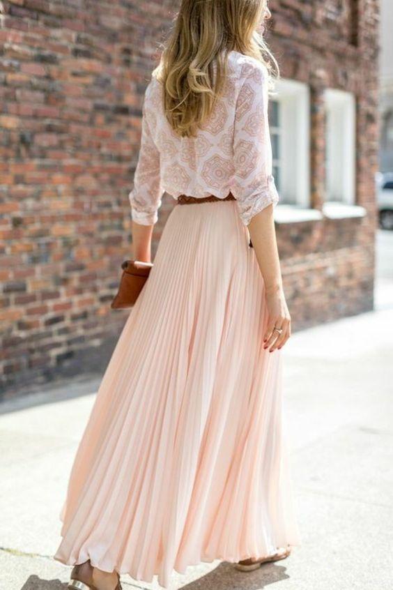jupes mi longues rose pale, jupe plissée rose pale: